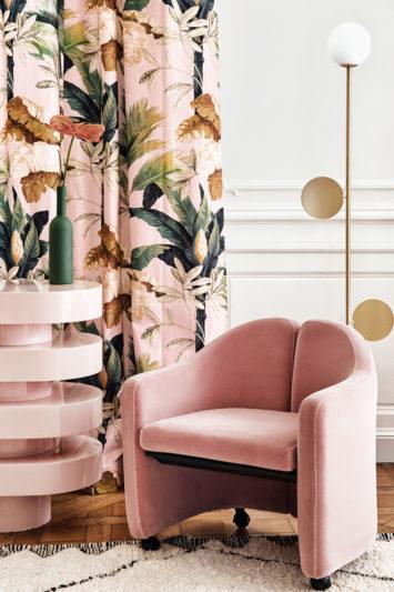 Fensterbekleidung rosa-grün